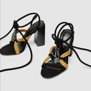 Zara leather (suede) sandal with stone